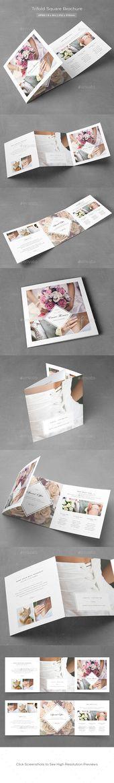 Square Trifold Wedding Brochure-V340 ~ Brochure Templates on - wedding brochure template