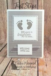 Baby Cards Learn how to make this card using this First Steps stamp set and more! #DebbieMa...