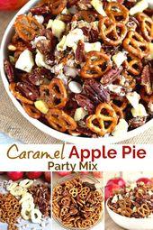Diese Karamell-Apfelkuchen-Party-Mischung ist mit Brezeln, kandierten Pekannüssen, getrockneten …   – *Blogger Appetizer & Snack Recipes*