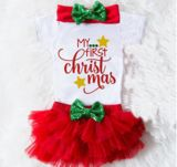 Baby's Girls First Christmas Lace Shorts Short Skirt + Hair Strap Girl Three-Piece Set – SkeeterStopnShop