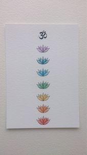Om et Lotus Chakra Art Print, 5×7 Chakra Drawing, Chakra colours, Om Drawing, Colour Print