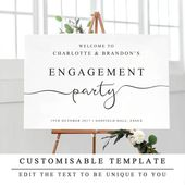 Personalised Engagement Party Sign, Printable Welcome to Our Engagement Sign, DIY Wedding Engagement Party Template 5 Sizes INSTANT DOWNLOAD   – Engagement Party