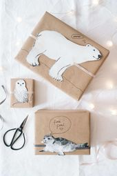 Wrapping gifts: cute winter animals paul vera