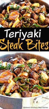 Teriyaki Steak Bites mit grünem Pfeffer und Zwiebeln #steak #beef # 30minutemeals #te …