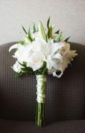 66 Ideen Hochzeit Blumen White Lillies Rose Bouquet im Freien Hochzeitsideen –   – White Wedding Flowers