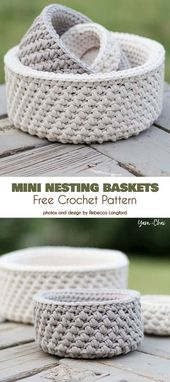 Mini Nesting Baskets Free Crochet Pattern