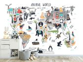 Кids world map Wall mural, Animal world map art wallpapers for kids room. Wall mural for child room