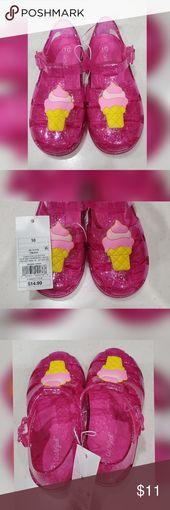Cat & Jack Isha Embellished Jelly Fisherman Sandal Pink with silver glitter jell…