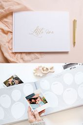 Kleine – Weiß und Goldfolie Luxus Baby Memory Book   – Baby nursery