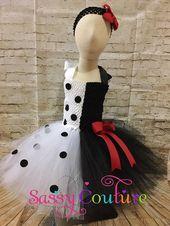 Cruella Deville Halloween tutu costume, 101 Dalmatian tutu halloween costume, Dalmation tutu costume, girls Halloween tutu costume
