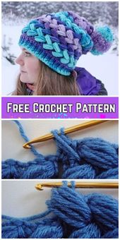 Crochet Cross Bean Puff Beanie Mütze Free Crochet Pattern – Video – Hakeln Ideen