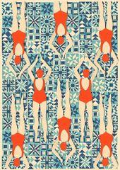 Art-Deco-Druck / / Schwimmer print / / Papercut Print