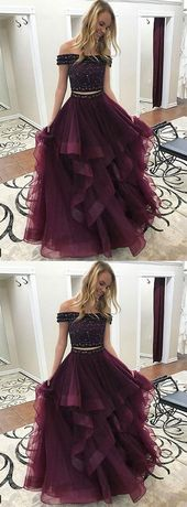 Stylish A-Line Two-Piece Off-Shoulder Burgundy Long Prom/Evening Dress