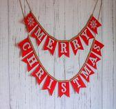 Photo of Sackleinen rotes Weihnachtsbanner, Frohe Weihnachtsdekoration, Bauernhaus-Weihnachtsgirlande, Frohe