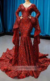 Vintage Burgundy Mermaid Prom Dresses with Sleeves FD1200