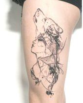 tattoo am oberschenkel, wolf, frau, bein tattoo, tattoo ideen – #Bein #Frau #Ide…