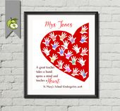 Instructor Appreciation present, trainer thanks, an important trainer, takes a hand, opens a thoughts, touches a coronary heart, printable, fingerprint artwork