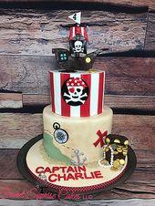 Pirate Charlie Cake Pirate ship treasure map Skull and cross bones  #sweetsupris…