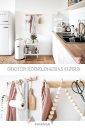 Praktische Küchenhelfer – DIY Ideen für Küchenrollenhalter, Untersetzer und Handtuchhalter #dreimalanders