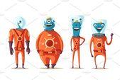 Set of robots. Technology, future. Cartoon vector illustration , #Sponsored, #future#Cartoon#Technology#Set #Ad