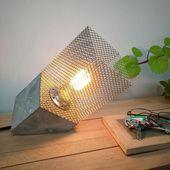 Industrial Lighting Concrete Slanted Table Lamp …