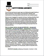 Gettysburg Address By Abraham Lincoln With Questions Gettysburg