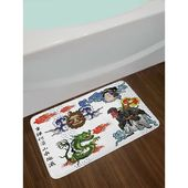 East Urban Home Japanese Manga Figures Dragon with Fire a Man with Kimono Geisha Tribal Characters Non-Slip Plush Bath Rug