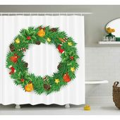 Der Holiday Aisle Christmas Evergreen Wreath Art Duschvorhang   – Products
