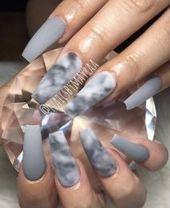 20 Creative Ways Marble Nails Acrylic Coffin Grey …