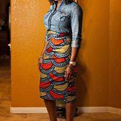 Jupe Midi Crayon Cire Moulante Cire Africaine Moulante Taille Haute – Fashion …   – Jupes