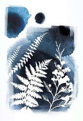 Atemberaubende Botanische Drucke Messerklinge Wandkunst Blauer