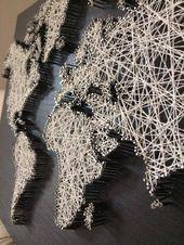 Weltkarte in der Schnurkunst, Schnurkunstweltkarte   – House ideas