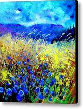 Blue Cornflowers 67 Leinwanddruck / Leinwandbild von Pol Ledent