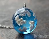 Blue sky necklace Sky cloud necklace Terrarium jewelry Sky jewelry Gift under 50 Gift -mature for her
