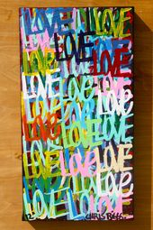 Original love art 29″ x 15 word art free shipping modern contemporary signed painting