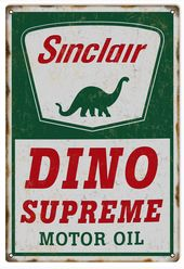 Sinclair Dino Motor Oil, Aged Style 16 x 24 inch .040 Gauge Metal Sign, USA Made Vintage Style Retro Garage Art RG4971L RG