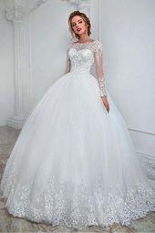 Elegantes Bateau-Ausschnitt-Ballkleid-Hochzeits-Kleid mit Spitze-Applikationen … – Ballkleid