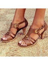 Femmes PU Talon bottier Sandales Escarpins À bout ouvert avec Boucle chaussures (087265175)