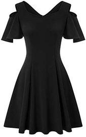 JASAMBAC Damen Cocktailkleid mit kalten Schultern und Rüschenärmeln, A-Linie, Skater-Kleid