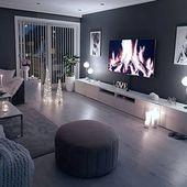 Gemütliches Wohnzimmer dunkle Wand grau taupe schwarz hell Sofa Holzboden …