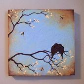 Pintura original con textura – pájaros y abejas en rama de árbol – #Tree branch # …   – B Karte Stempeln, Malen