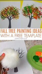 Herbst Baum Malerei Ideen mit einer kostenlosen Vorlage