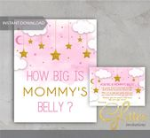 Baby Showers Twinkle Twinkle twinkle gold, Little Star, girl Baby Shower, How Big is Mommy's Bell...