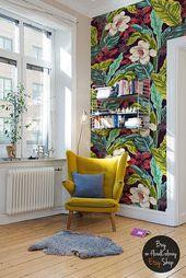Feuilles et fleurs wallpaper || Peinture murale florale foncée || Peel & Stick || Fond d'écran floral amovible # 122