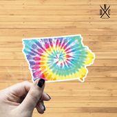 Iowa Tie Dye State Outline Vinyl Sticker, Travel, Laptop Decals, Stickers, Macbook Decal, Stickers M