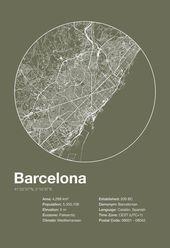 Straßenkarte Kunst Stadt Druck – Barcelona, Spanien – minimalistische Karte von Barcelona Poster Infografik Schweizer Stil Helvetica Modernist Druck