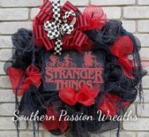 Stranger things inspired wreath door wreath home wreath home decor Stranger Things decor Stranger Things Wreath with lights