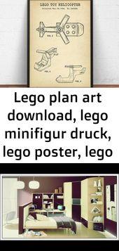 Lego Plan Art herunterladen, Lego Minifigur drucken, Lego Poster, Lego Spielzeug, Kinderzimmer Wandkunst, 1   – Lego