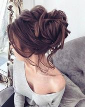 Messy Wedding Updo Brunette #messyweddinghair   – Hairstyle Tips for Thin and Thinning Hair