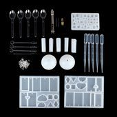 68 Pcs / Set DIY Craft Tools Kit Silicone Crystal Mold Making Jewelry Pendant Necklaces   -…   – Epoxy Crafts